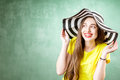 Colorful Portrait Of A Young Woman In Hat Stock Photo - 87992310