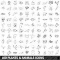 100 Plants And Animals Icons Set, Outline Style Royalty Free Stock Photos - 87999168