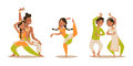 Indian Woman Man Dancing Vector Isolated Dancers Silhouette Icons People India Dance Show Party Movie, Cinema Cartoon Stock Photography - 87999642