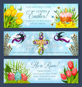 Easter Banner Set With Egg, Cake And Flower Cross Royalty Free Stock Photos - 88016618