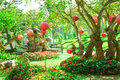 The Red Lanterns Hanging In The Garden With Trees And Green Grass. Royalty Free Stock Photo - 88027515