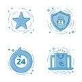 Vector Illustration Set Of Flat Bold Line Icons With Star - Favorite Sign, Shield - Web Security, 24 7. Royalty Free Stock Photography - 88027587