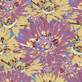 Chamomile Flower Seamless Pattern, Floral Vector Background. Purple, Yellow And Multicolor Flowers With Petals On The Blue Backdro Stock Images - 88037014