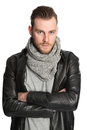 Standing Man With Scarf And Leather Jacket Royalty Free Stock Photography - 88040057