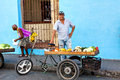 Street Vendor Selling Fruit And Vegetables On His Bike In The Streets Of Camaguey, Cuba Stock Photo - 88040990