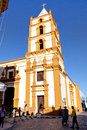 The Soledad Church In Camaguey. Some People Walk On The Street In Front Of The Church Royalty Free Stock Photo - 88041795
