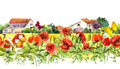 Summer Poppies Flowers, Butterflies, Provencal Houses. Floral Border. Watercolor Repeated Frame Stripe Stock Photos - 88044873