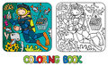 Funny Oceanographer Or Diver. Coloring Book Stock Photos - 88045643
