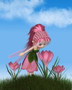 Cute Toon Pink Crocus Fairy On A Sunny Spring Day Royalty Free Stock Images - 88050409