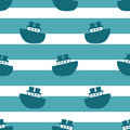 Cute Seamless Pattern With Blue Boats Royalty Free Stock Images - 88051689