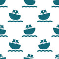 Cute Seamless Pattern With Blue Boats And Waves. Stock Photography - 88051722
