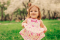 Cute Little Happy Toddler Girl Portrait Walking In Spring Or Summer Park Stock Photography - 88055142