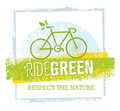 Ride Green Creative Eco Vector Bicycle Illustration On Recycled Paper Background Stock Photos - 88055853