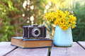 Old Book, Vintage Photo Camera Next To Field Flowers Royalty Free Stock Image - 88057296