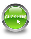 Click Here Glossy Green Round Button Royalty Free Stock Photos - 88076558