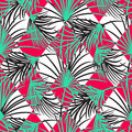 Green And Red Palm Leaves And Harlequin Rhombs Seamless Vector Pattern. Royalty Free Stock Photo - 88094455