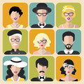 Vector Set Of Different Retro Flapper Girls In Different Shapes Vintage Glasses And Men In Trendy Flat Style. Royalty Free Stock Photography - 88095307