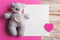 Blank Card On Pink Background With Teddy Bear Stock Images - 88119184