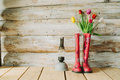 Colorful Rain Boots With Spring Flowers And Oli Lamp In Wooden B Stock Photos - 88138223