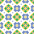 Blue And Green Mediterranean Seamless Tile Pattern. Stock Image - 88148241