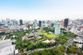 Panoramic Modern City Skyline Bird Eye Aerial View With Zojo-ji Temple Shrine From Tokyo Tower Under Dramatic Sunrise And Morning Royalty Free Stock Photos - 88162318