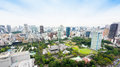 Panoramic Modern City Skyline Bird Eye Aerial View With Zojo-ji Temple Shrine From Tokyo Tower Under Dramatic Sunrise And Morning Royalty Free Stock Images - 88162329