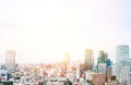 Panoramic Modern City Skyline Bird Eye Aerial View From Tokyo Tower Under Dramatic Sunrise And Morning Blue Sky In Tokyo, Japan Royalty Free Stock Photography - 88162357