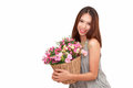 Girl Holding A Basket Of Flowers. Royalty Free Stock Images - 88166899