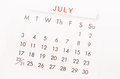 July Calendar Page. Stock Image - 88179931