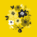 Contemporary Spring Floral Design  With Yellow Abstract Flowers. Modern Geometry Vector Illustration. Stock Image - 88183181