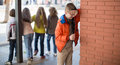 Children Playing Hide And Seek In The Schoolyard Stock Photos - 88195623