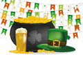Pot Of Gold Coins Against The Background Of Green Flags. Hat And Beer Royalty Free Stock Photo - 88197195