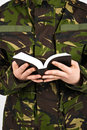 Soldier With Bible Stock Photography - 8821802