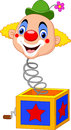 Cartoon Clown Head Coming Out Of The Box Royalty Free Stock Photography - 88203937