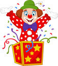 Cartoon Clown Jumping Out Of The Box Royalty Free Stock Photography - 88203997