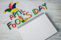 April Fools` Day Text Made With Plasticine And Free Space In Note Royalty Free Stock Image - 88216566