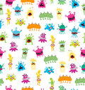 Cartoon Cute And Funny Monsters And Bacterias. Vector Seamless Pattern Isolated On White. Royalty Free Stock Images - 88226129