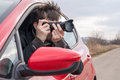 Paparazzi Is Taking Photo With Camera From Car Royalty Free Stock Photo - 88226315