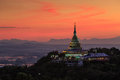 Landscape Of Sunset Over Pagoda In Chiang Mai Royalty Free Stock Images - 88248789