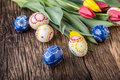 Easter. Hand Made Easter Eggs And Spring Tulips On Old Wooden Table Stock Photography - 88262152