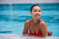 Beautiful Woman Swimming Pool At Resort Relaxed Portrait Young Asian Girl Happy Smile Tropical Vacation Royalty Free Stock Photography - 88267407