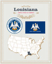 High Detailed Vector Set With Flag, Coat Of Arms Louisiana. American Poster. Greeting Card Royalty Free Stock Image - 88288126