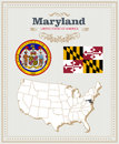 High Detailed Vector Set With Flag, Coat Of Arms Maryland. American Poster. Greeting Card Royalty Free Stock Photo - 88288835