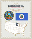 High Detailed Vector Set With Flag, Coat Of Arms Minnesota. American Poster. Greeting Card Stock Photography - 88288982