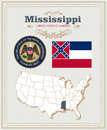 High Detailed Vector Set With Flag, Coat Of Arms Mississippi. American Poster. Greeting Card Stock Photo - 88289240