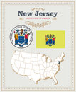 High Detailed Vector Set With Flag, Coat Of Arms New Jersey. American Poster. Greeting Card Stock Image - 88289521