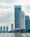 Skyscrapers, Bridge And Boats On River In Bangkok Stock Images - 88295754