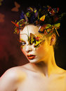 Woman With Summer Creative Make Up Like Fairy Butterfly Closeup Royalty Free Stock Photo - 88306355