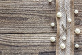 Border Of Burlap With White Lace And Beads On Old Wooden Table. Stock Images - 88311884