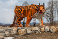 Sculpture Of A Wooden Tiger Royalty Free Stock Photography - 88313167